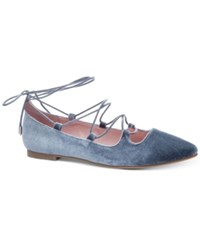Chinese Laundry Endless Summer Velvet Lace Up Flats Women's Shoes Steel Blue