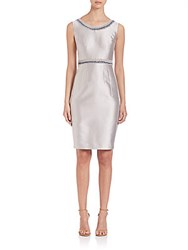 Lafayette 148 New York Nouveau Embellished Shantung Dress Sterling Silver