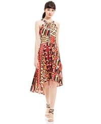 Sangria Tribal Print High Low Halter Dress Ivory Coral