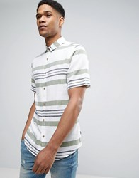 Only And Sons Short Sleeve Shirt In Slim Fit With Mixed Stripe Loden Green