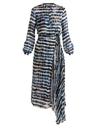 Preen Keene Tie Dye Print Silk Blend Jacquard Dress Blue Multi
