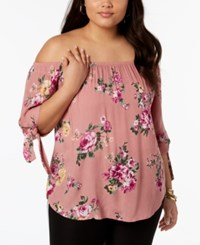 Planet Gold Trendy Plus Size Printed Off The Shoulder Tie Sleeve Top Rose Combo