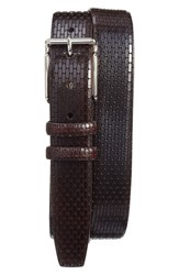 Torino Belts Men's Big And Tall Geometric Calfskin Belt Brown