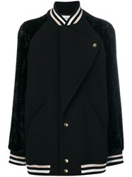 Lanvin Oversized Varsity Jacket Women Polyamide Acetate Cupro Wool 38 Black