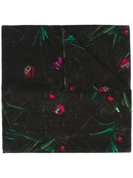 Paul Smith Ps By Plant Print Scarf Black