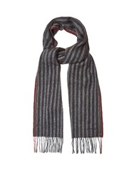Paul Smith Striped Wool And Cashmere Blend Scarf Black Multi