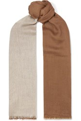 Loro Piana Aylit Fringed Color Block Cashmere And Silk Blend Scarf Camel