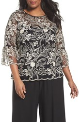 Alex Evenings Plus Size Women's Embroidered Bell Sleeve Blouse Black Champagne