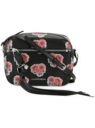 Alexander Mcqueen Skull Poppy Print Camera Shoulder Bag Black