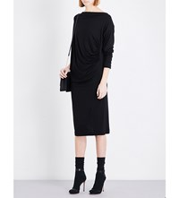 Anglomania Cowl Neck Ruched Midi Dress Black