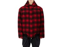 Ben Taverniti Unravel Project Men's Camouflage Wool Oversized Hooded Workman Jacket Red Black