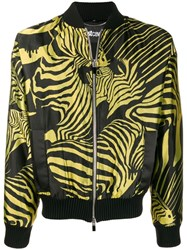 Just Cavalli Zebra Pattern Bomber Jacket Black