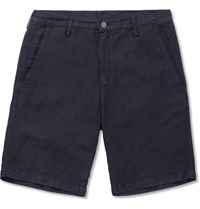 Massimo Alba Slim Fit Linen And Cotton Blend Shorts Blue