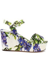 Dolce And Gabbana Floral Print Jacquard Wedge Sandals Cream