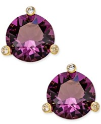 Kate Spade New York Gold Tone Navy Blue And Clear Crystal Stud Earrings Amethyst