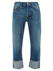 Valentino Washed Turn Up Straight Leg Jeans Blue