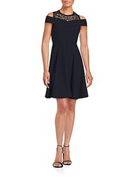 Rebecca Taylor Off The Shoulder Solid Dress Navy