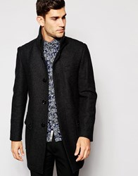 Esprit Wool Overcoat With Funnel Neck Charcoal