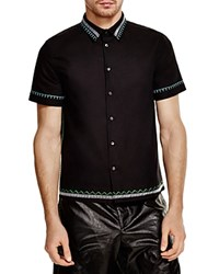 Msgm Embroidered Slim Fit Button Down Shirt Black