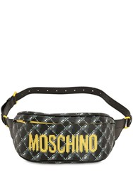 Moschino Logo Printed Leather Belt Bag Dark Grey