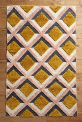 Anthropologie Hand Tufted Trellis Rug Pink
