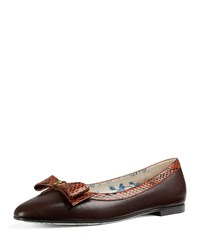 Gucci Yva Ballerina Flat With Snakeskin Bow Brown