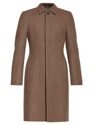 Balenciaga Hourglass Houndstooth Overcoat Brown