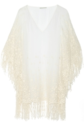 Alice Olivia Haveri Embroidered Silk Chiffon Poncho