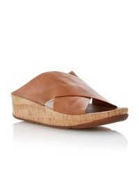 Fitflop Kys Leather Round Toe Crossover Wedge Sandals Tan