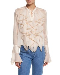 See By Chloe Long Sleeve Sheer Chiffon Ruffle Blouse Powder