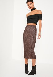 Missguided Bronze Pleated Metallic Midi Skirt