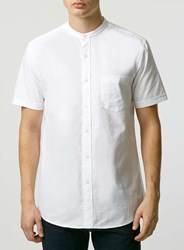 Topman White Oxford Stand Collar Short Sleeve Casual Shirt