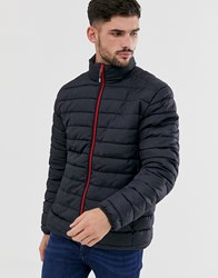 Only And Sons Puffer Jacket With Stand Collar In Navy