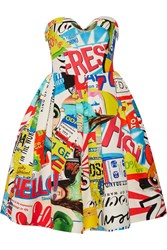 Moschino Strapless Printed Cotton Blend Faille Dress