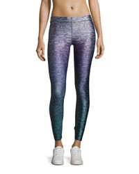 Terez Heathered Ombre Performance Leggings Purple Pattern