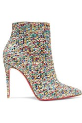 Christian Louboutin So Kate 100 Embellished Tweed Ankle Boots Metallic