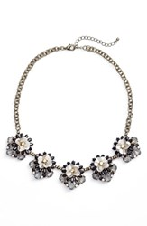 Sole Society Floral Cluster Statement Necklace Bronze Multi