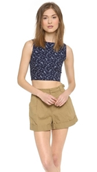 Harvey Faircloth Cropped Tank Indigo Print