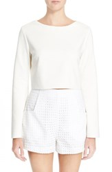 Women's N Nicholas Crossover Back Ponte Bell Sleeve Crop Top White