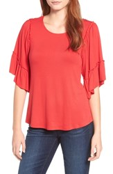 Bobeau Flutter Sleeve Top Red Tomato
