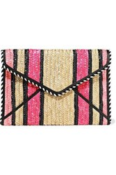 Rebecca Minkoff Woman Leo Faux Leather Trimmed Striped Woven Straw Clutch Pink