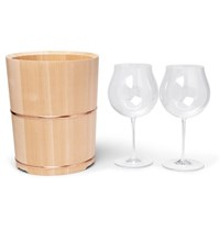 Japan Best Cypress Wood And Copper Wine Cooler And Glasses Brown