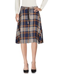 Leon And Harper Knee Length Skirts Dark Blue