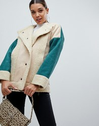 Prettylittlething Colour Block Shearling Jacket In Cream Multi