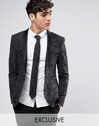 Noak Super Skinny Blazer With Satin Shawl Lapel Charcoal Grey