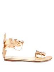 Francesco Russo Leaf Strap Leather Sandals Rose Gold