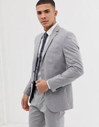 Selected Homme Slim Suit Jacket With Stretch Light Grey Melange