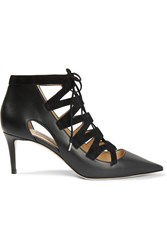 Jimmy Choo Dixon Cutout Leather And Suede Pumps Black