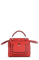 Fendi Dotcom Click Lace Up Leather Satchel Red Bloody Mary