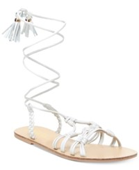Nanette Lepore By June Flat Lace Up Sandals Only At Macy's Women's Shoes Ice